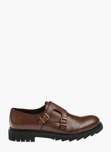 Divarese Çift Tokalı Deri Ayakkabı Kahve